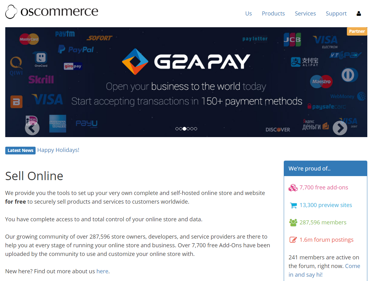 oscommerce e-commerce platform