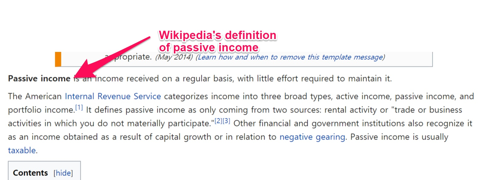 Wikipedia's definition of passive income
